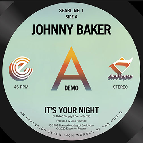 Johnny Baker It's Your Night 1981 Reissued single 2020