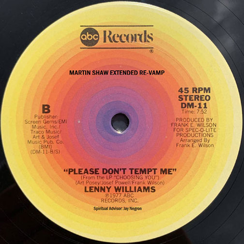 Lenny Williams Please Don't Tempt Me 1977 single with (Martin Shaw 2020 revamp)